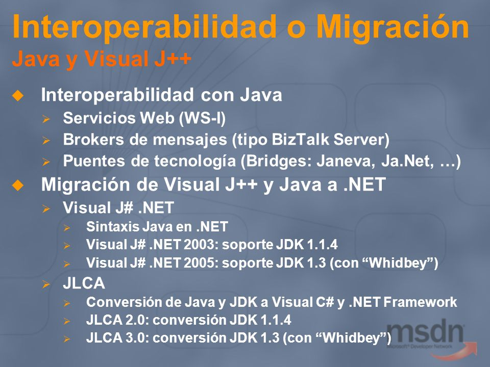 Interoperabilidad o Migración Java y Visual J++