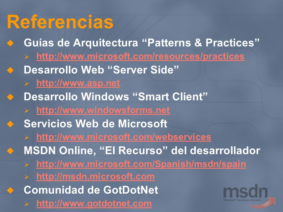 Referencias Guías de Arquitectura Patterns & Practices