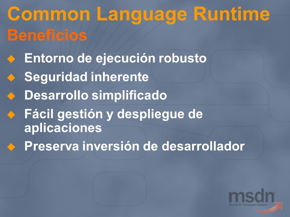 Common Language Runtime Beneficios