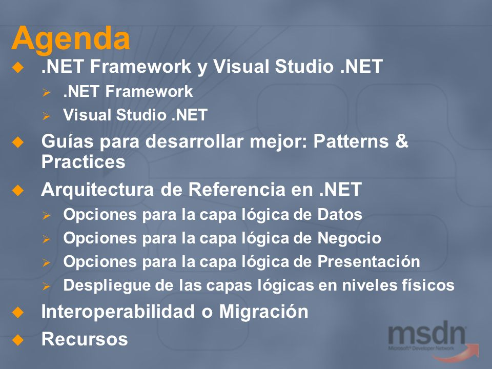 Agenda .NET Framework y Visual Studio .NET