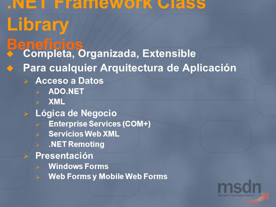 .NET Framework Class Library Beneficios