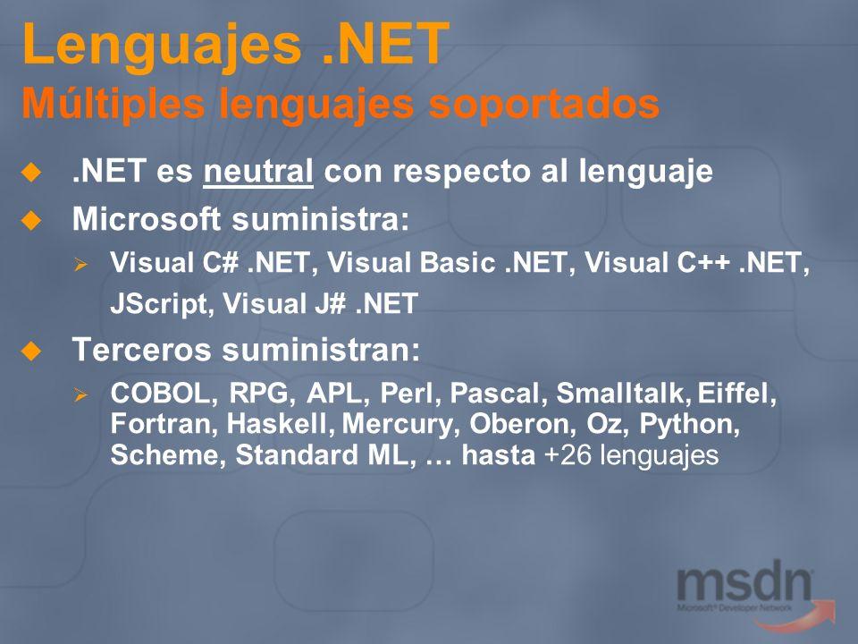 Lenguajes .NET Múltiples lenguajes soportados