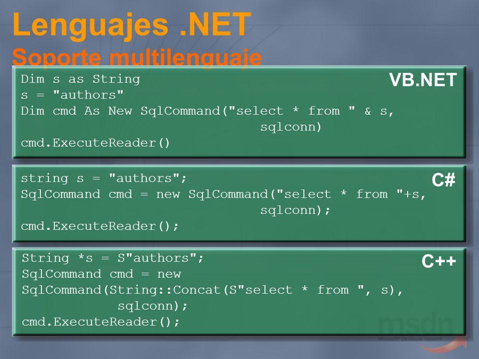 Lenguajes .NET Soporte multilenguaje