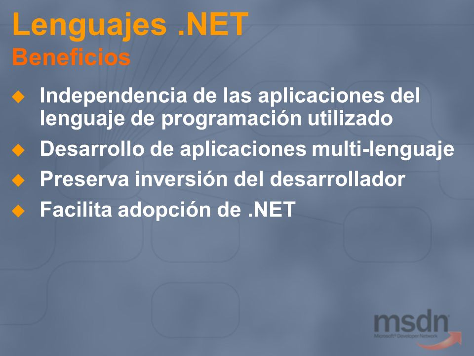 Lenguajes .NET Beneficios