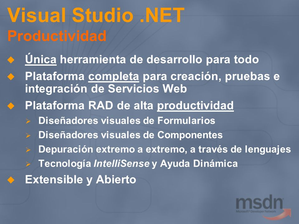 Visual Studio .NET Productividad