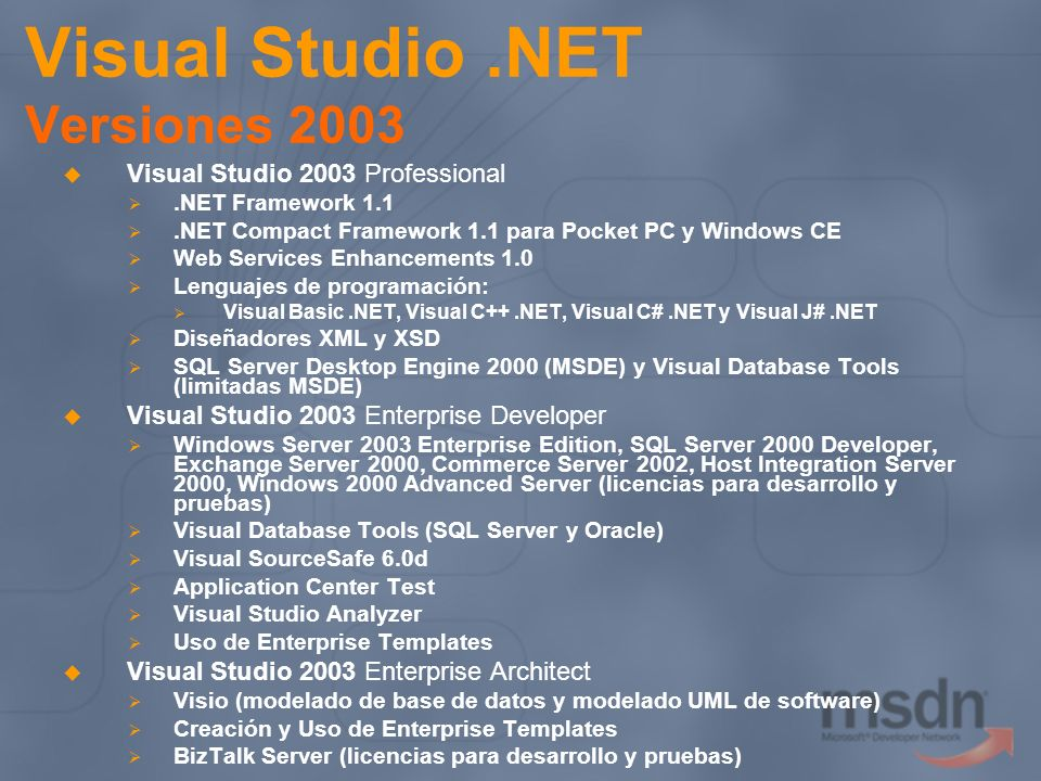 Visual Studio .NET Versiones 2003