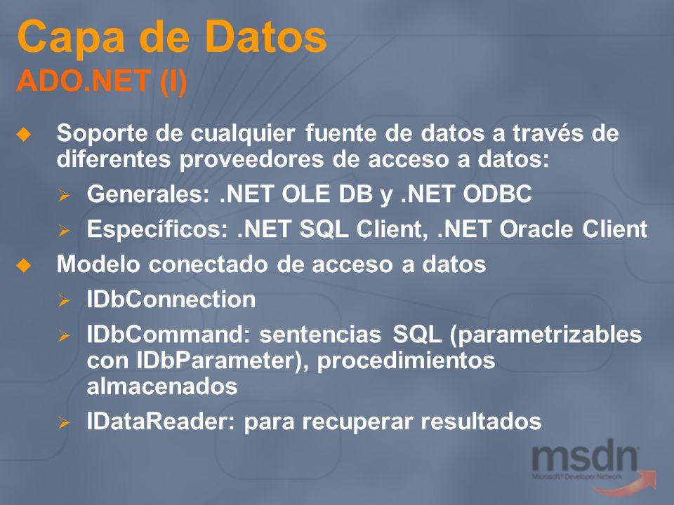 Capa de Datos ADO.NET (I)