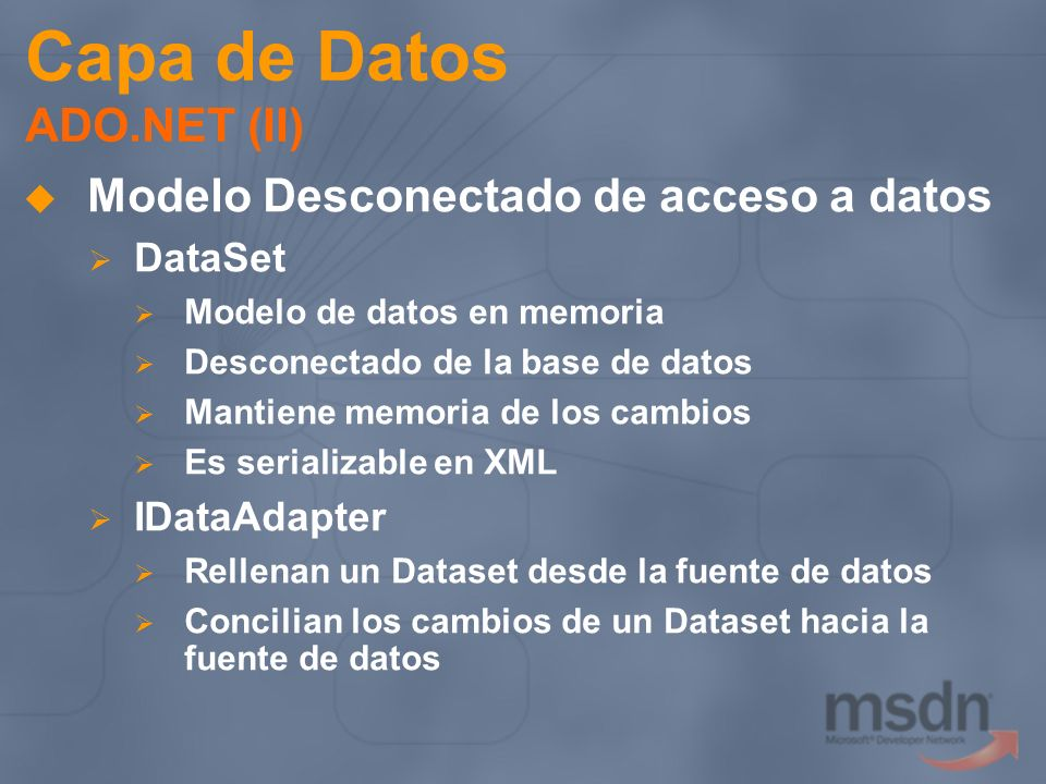 Capa de Datos ADO.NET (II)