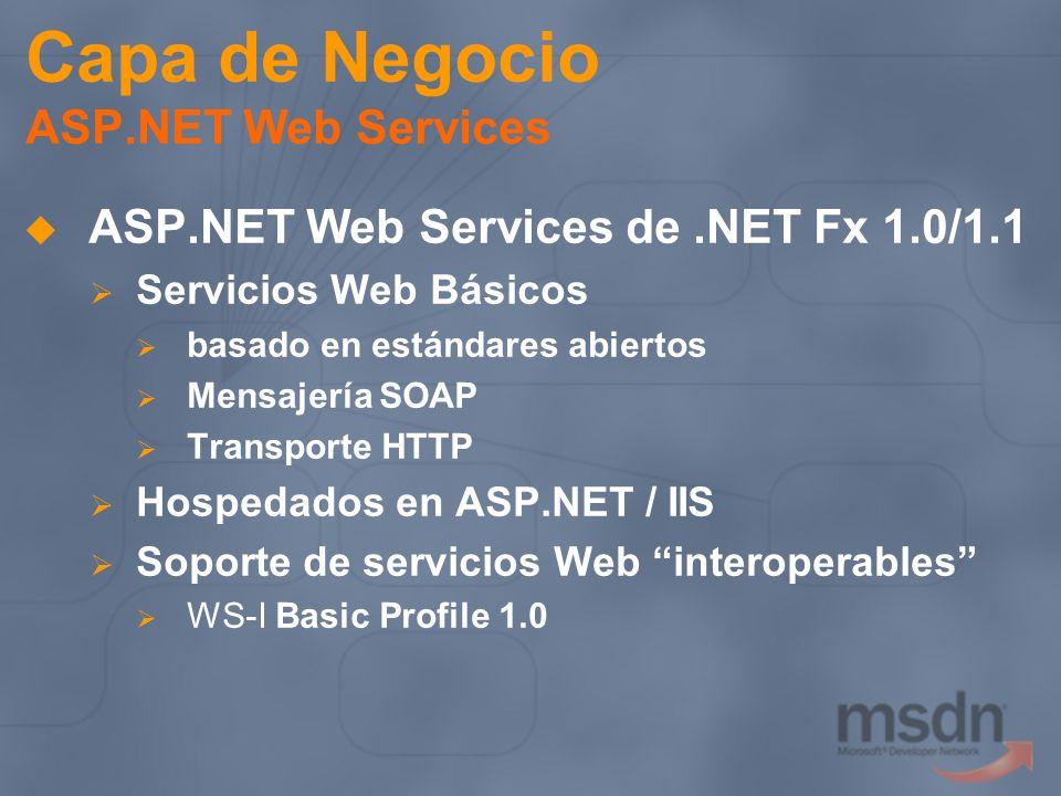 Capa de Negocio ASP.NET Web Services