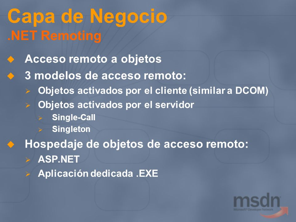 Capa de Negocio .NET Remoting