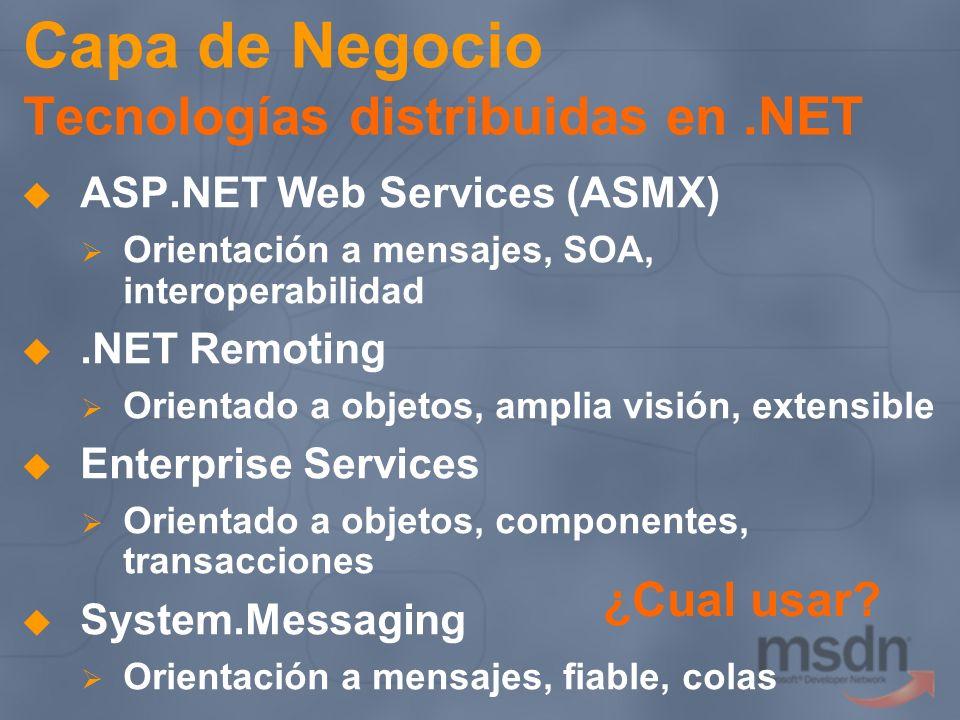 Capa de Negocio Tecnologías distribuidas en .NET