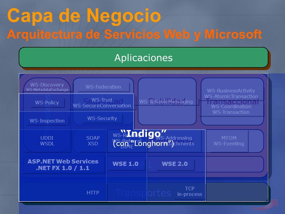 Capa de Negocio Arquitectura de Servicios Web y Microsoft