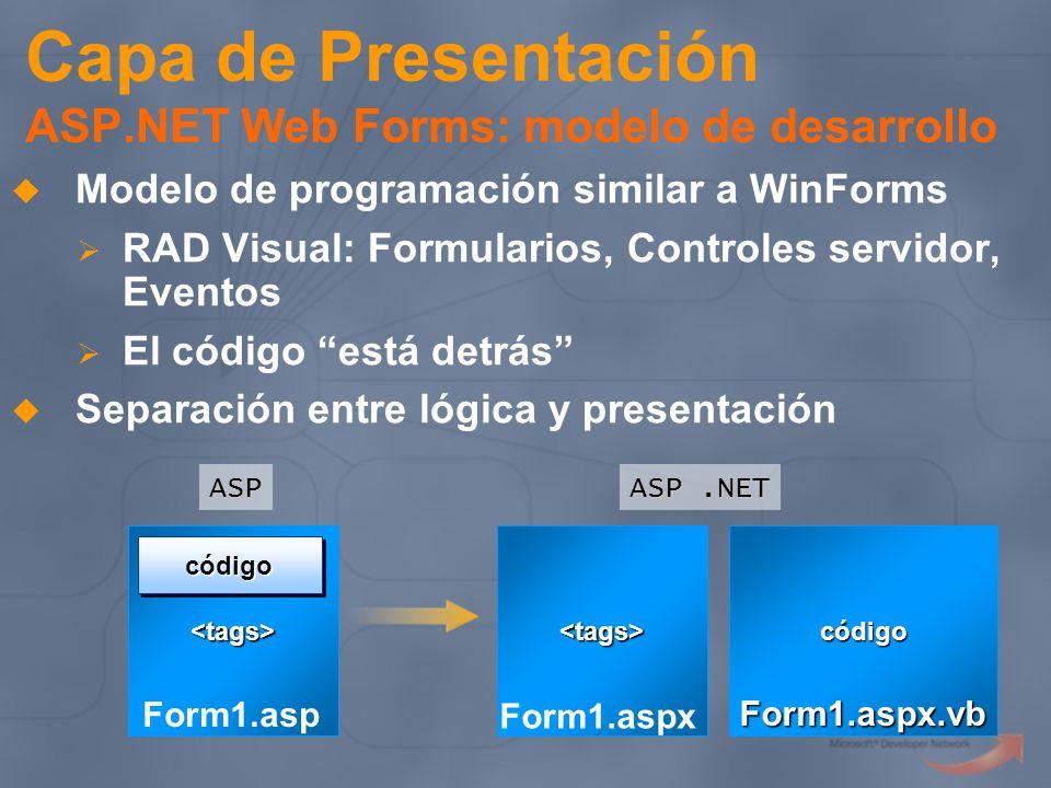 Capa de Presentación ASP.NET Web Forms: modelo de desarrollo