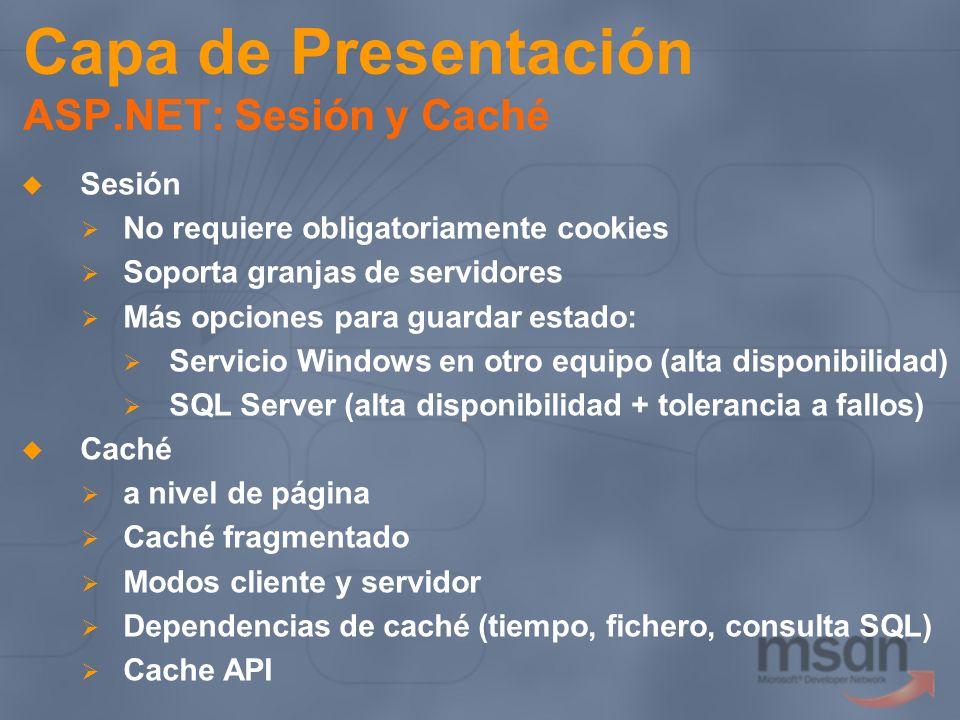 Capa de Presentación ASP.NET: Sesión y Caché