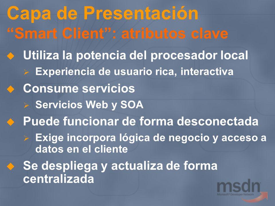 Capa de Presentación Smart Client : atributos clave