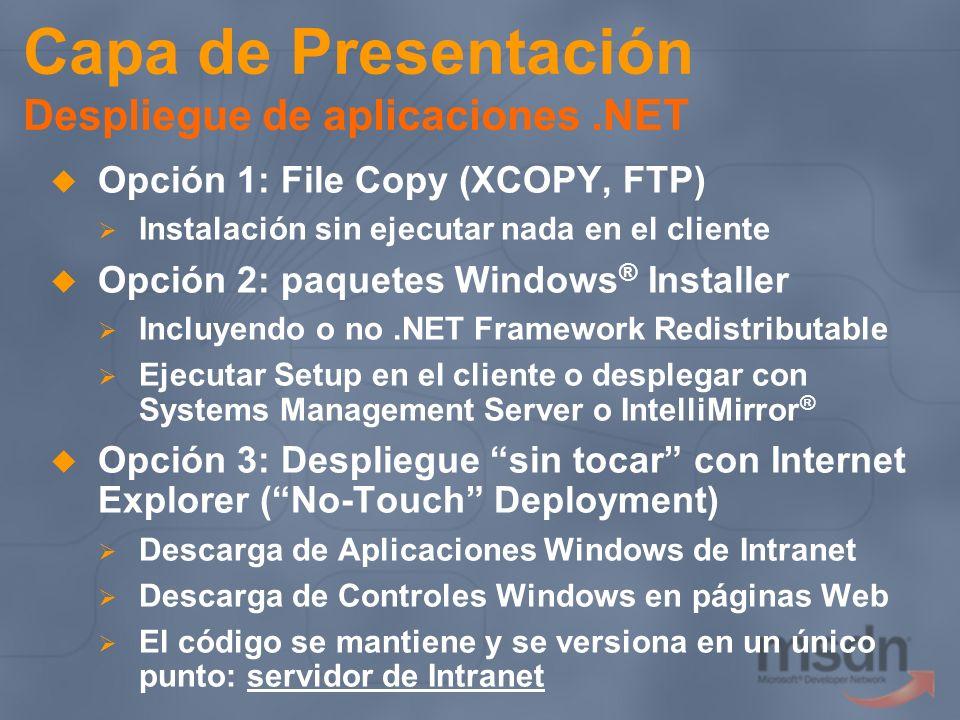 Capa de Presentación Despliegue de aplicaciones .NET