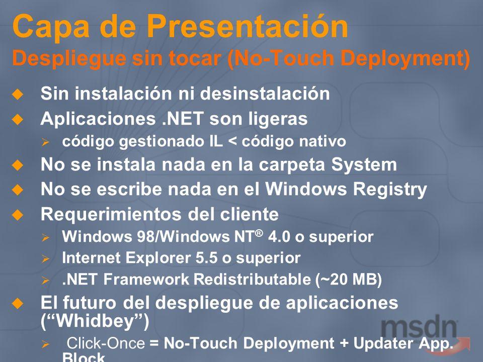 Capa de Presentación Despliegue sin tocar (No-Touch Deployment)
