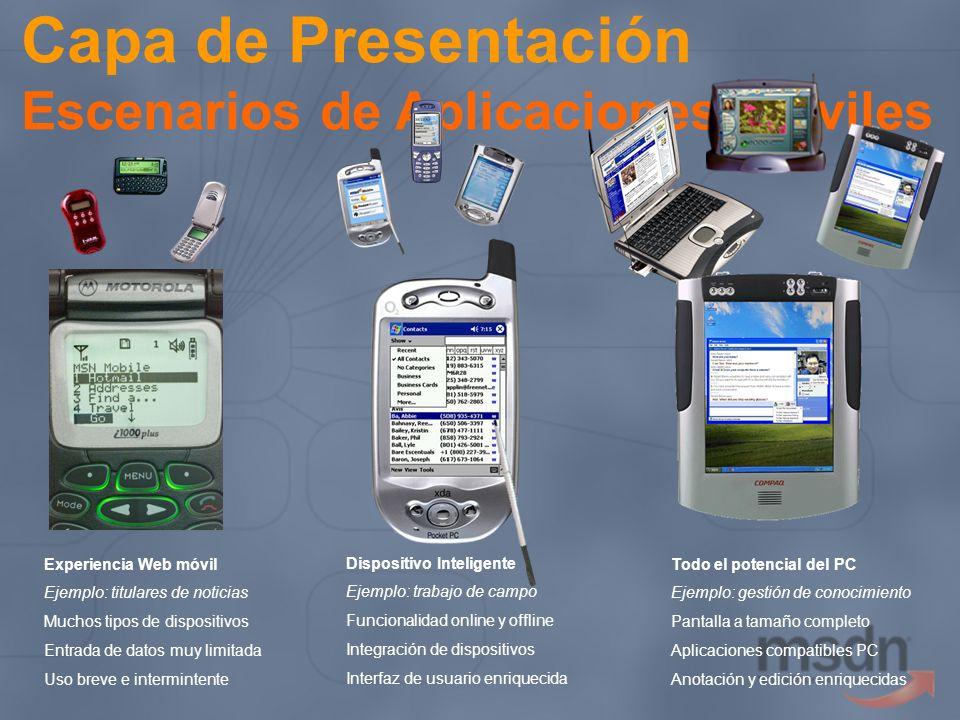 Capa de Presentación Escenarios de Aplicaciones Móviles