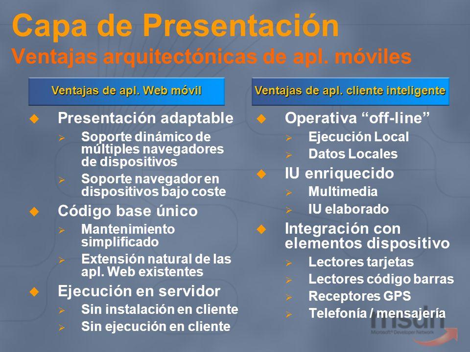 Capa de Presentación Ventajas arquitectónicas de apl. móviles