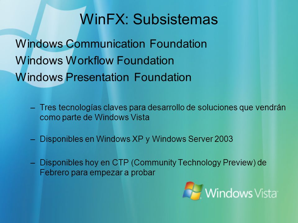 WinFX: Subsistemas Windows Communication Foundation