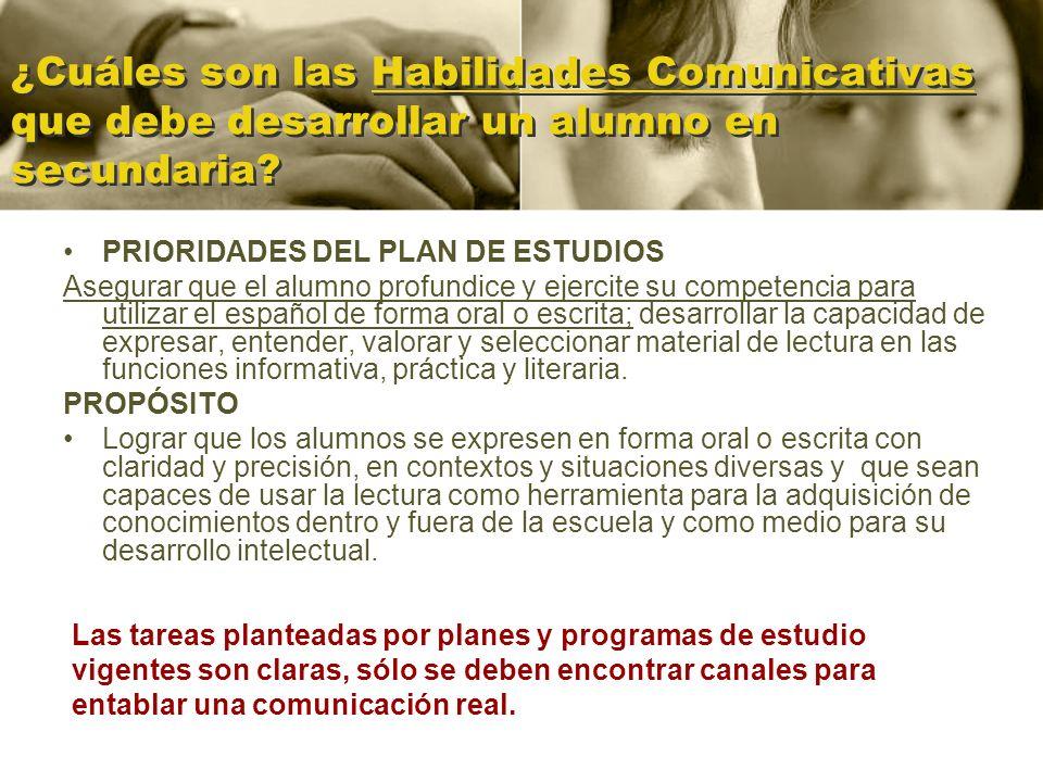 ¿Cuáles son las Habilidades Comunicativas que debe desarrollar un alumno en secundaria