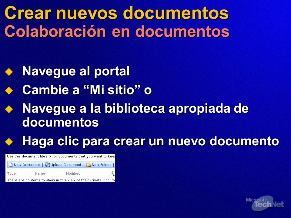 Crear nuevos documentos Colaboración en documentos