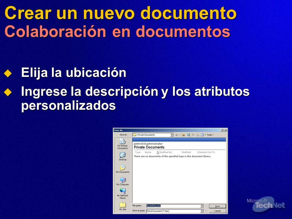 Crear un nuevo documento Colaboración en documentos