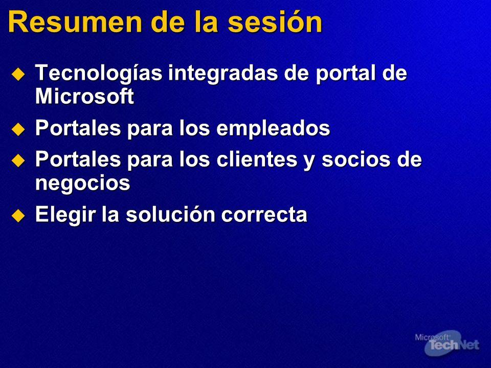 Resumen de la sesión Tecnologías integradas de portal de Microsoft