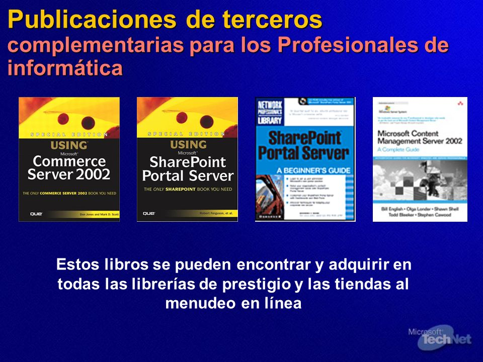 Publicaciones de terceros complementarias para los Profesionales de informática