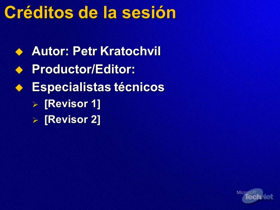 Créditos de la sesión Autor: Petr Kratochvil Productor/Editor: