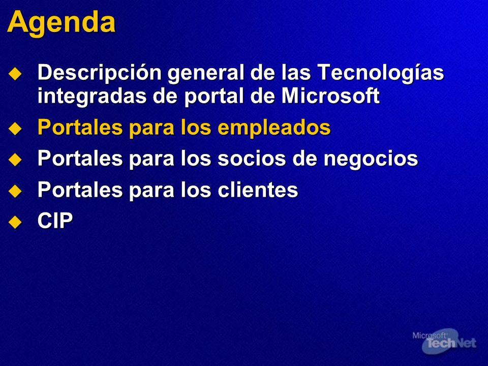 Agenda Descripción general de las Tecnologías integradas de portal de Microsoft. Portales para los empleados.