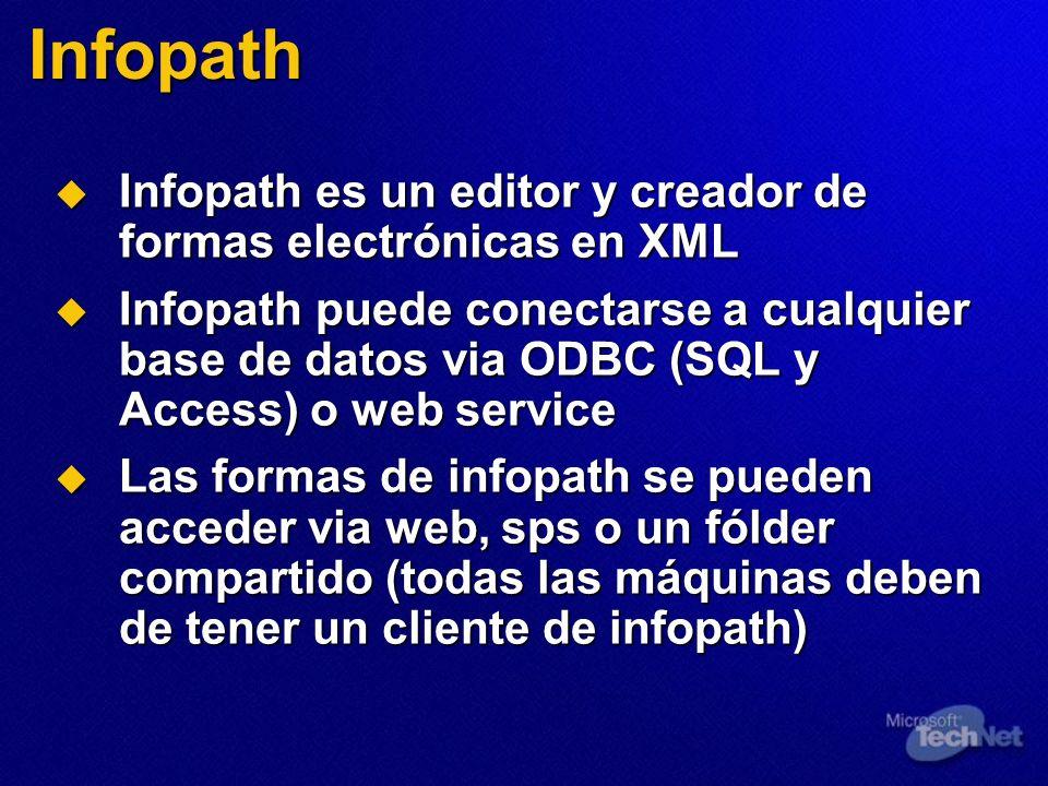Infopath Infopath es un editor y creador de formas electrónicas en XML