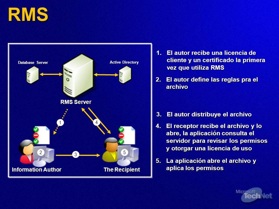 RMS El autor recibe una licencia de cliente y un certificado la primera vez que utiliza RMS. Database Server.