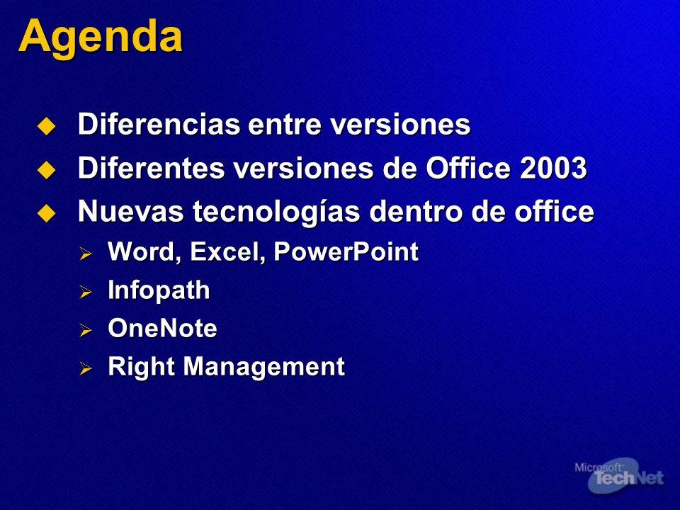 Agenda Diferencias entre versiones Diferentes versiones de Office 2003