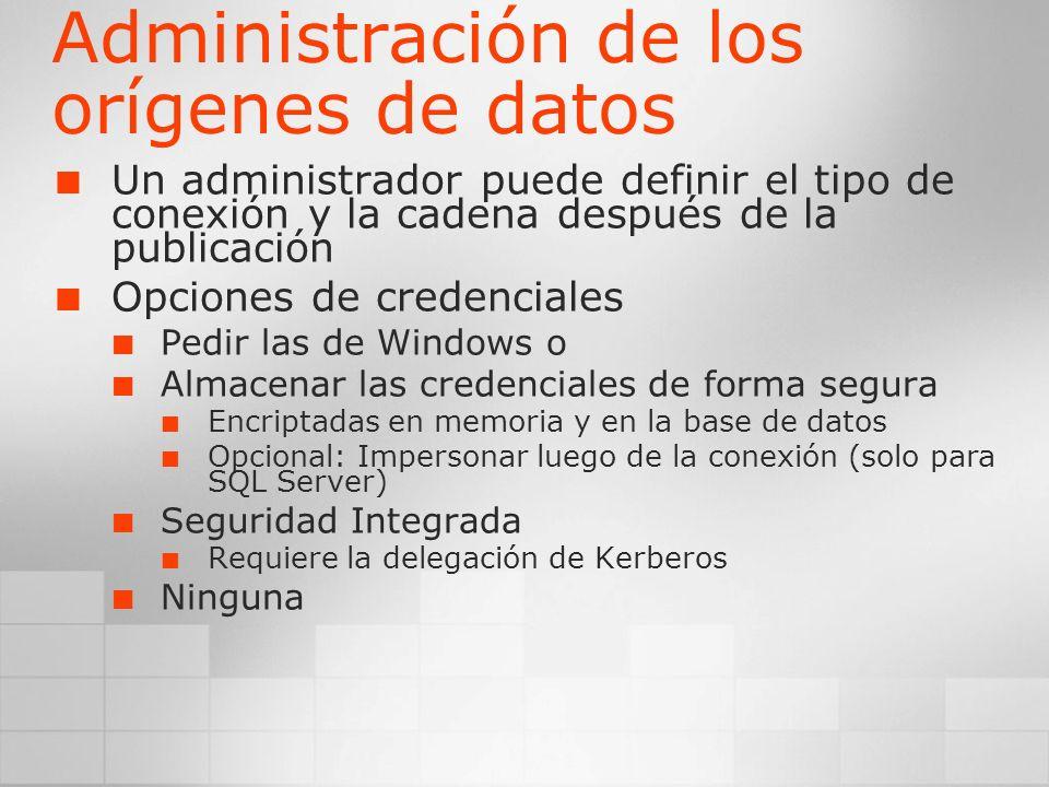 Administración de los orígenes de datos
