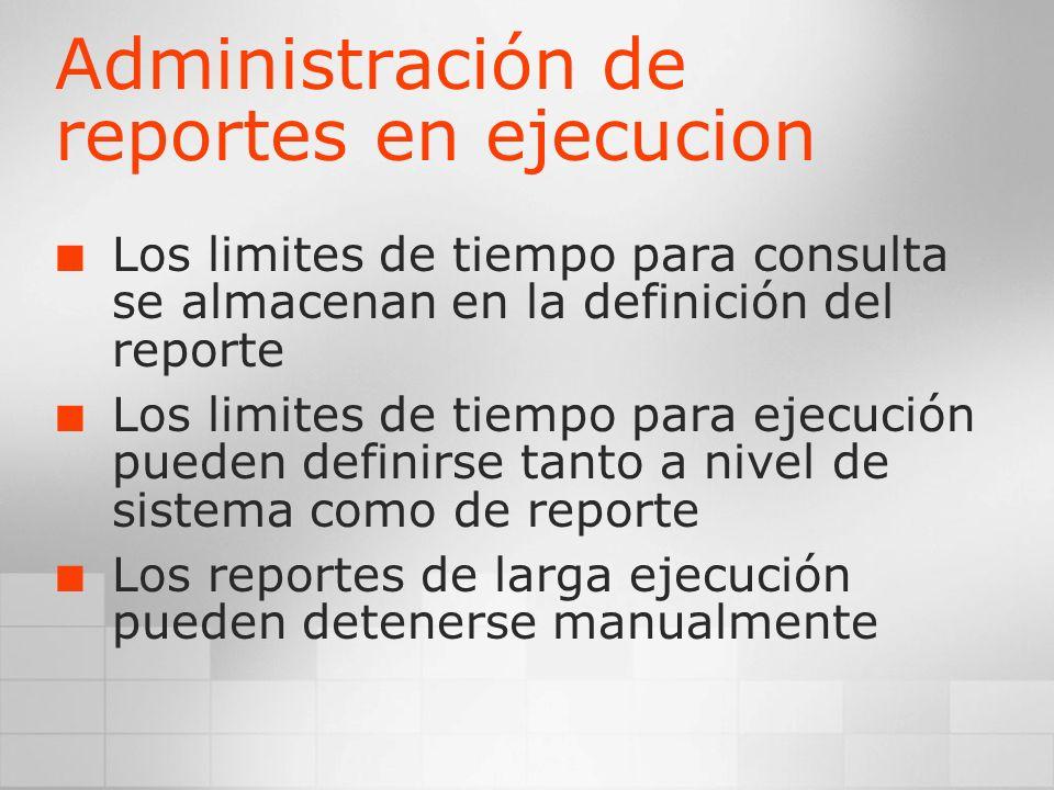 Administración de reportes en ejecucion
