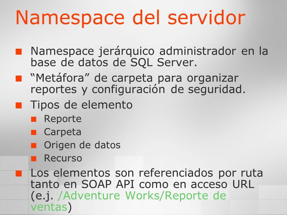 Namespace del servidor