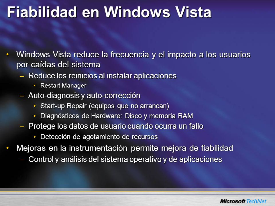 Fiabilidad en Windows Vista