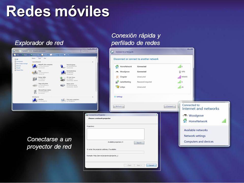 Redes móviles Conexión rápida y perfilado de redes Explorador de red
