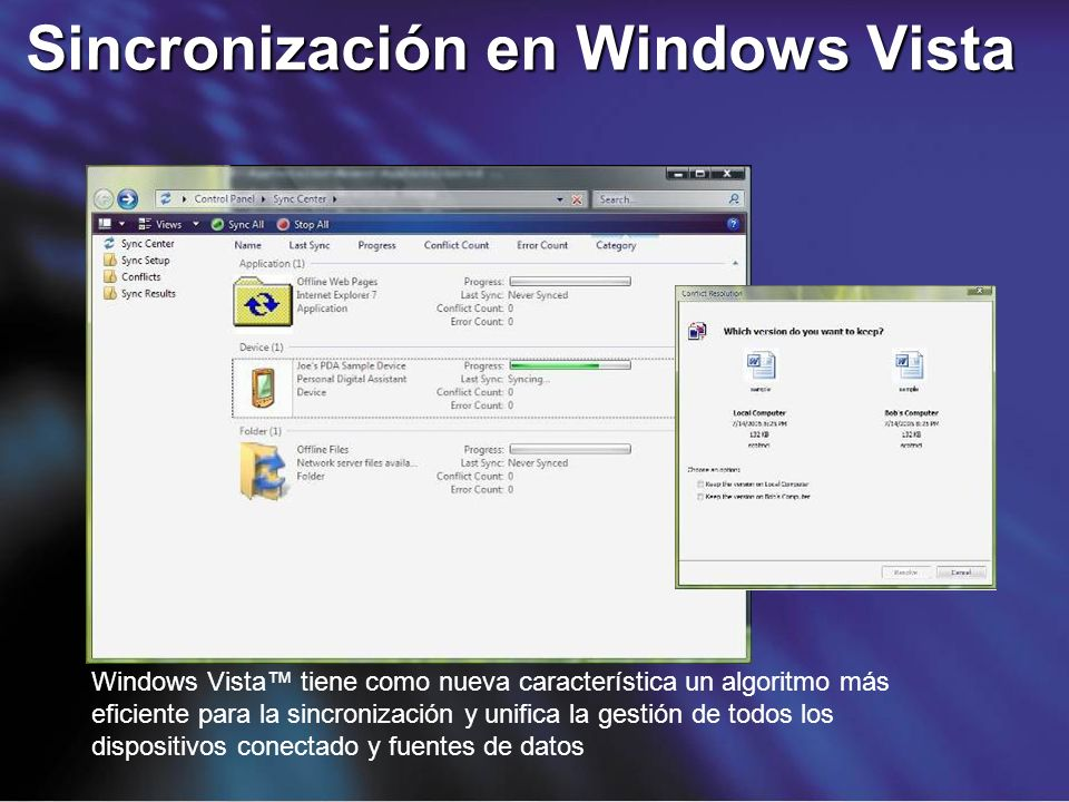 Sincronización en Windows Vista