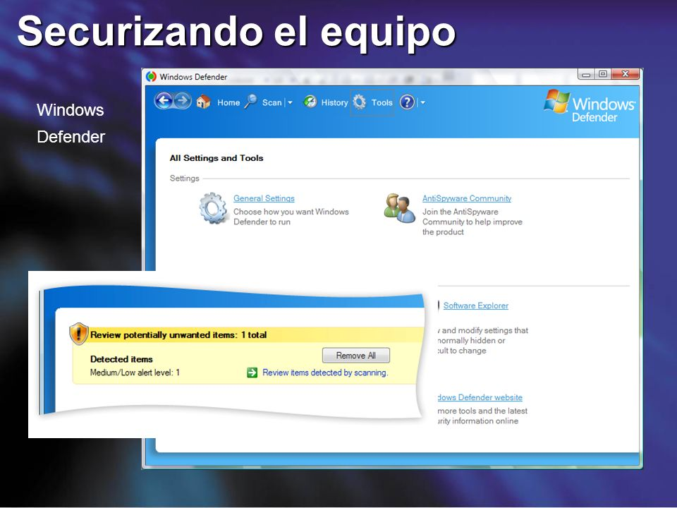 Securizando el equipo Windows Defender 9