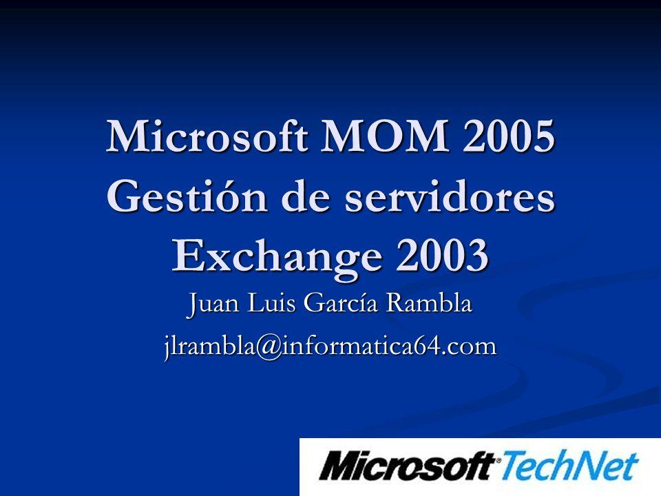 Microsoft MOM 2005 Gestión de servidores Exchange 2003