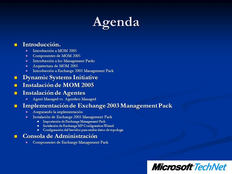 Agenda Introducción. Dynamic Systems Initiative