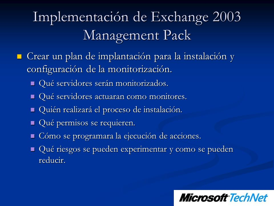 Implementación de Exchange 2003 Management Pack