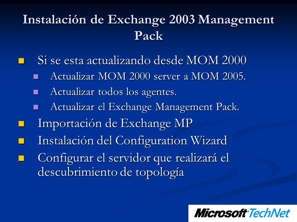 Instalación de Exchange 2003 Management Pack