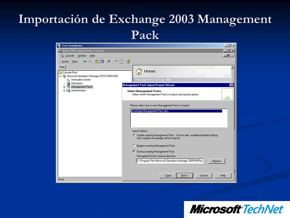 Importación de Exchange 2003 Management Pack