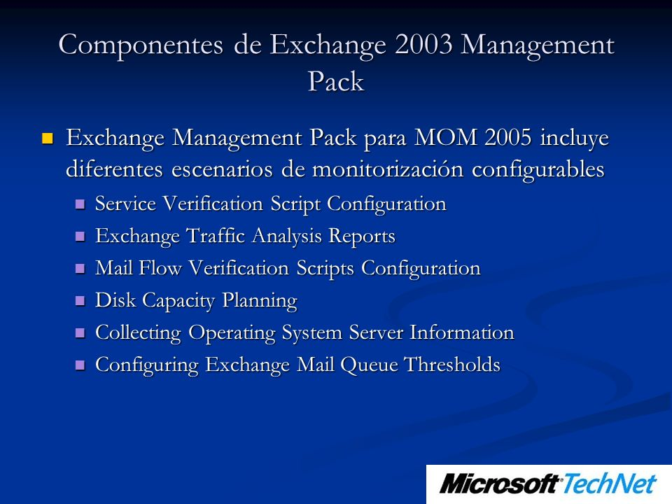 Componentes de Exchange 2003 Management Pack