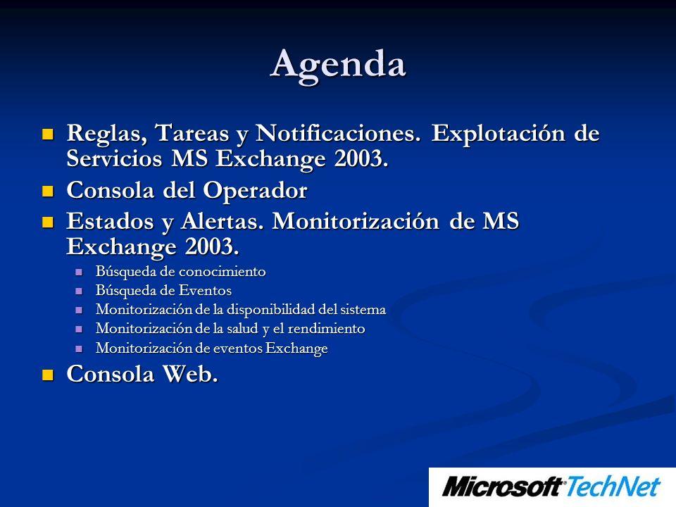 Agenda Reglas, Tareas y Notificaciones. Explotación de Servicios MS Exchange 2003. Consola del Operador.