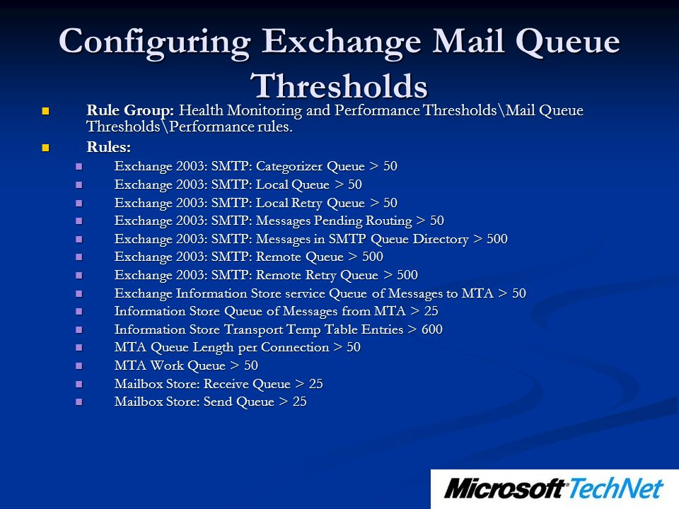 Configuring Exchange Mail Queue Thresholds