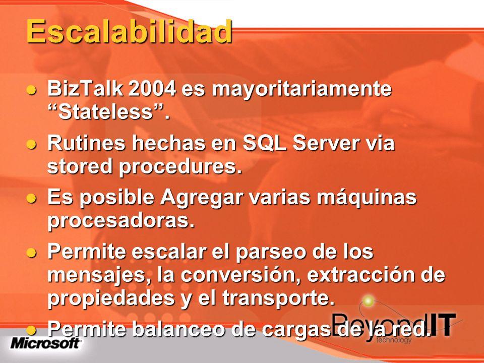 Escalabilidad BizTalk 2004 es mayoritariamente Stateless .